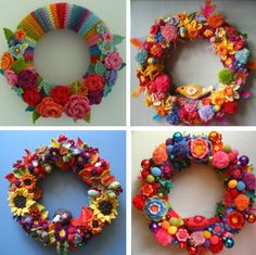 I am a huge fan of crochet art. I love all the different varieties and inspirations that artists explore through crochet. Here are twenty examples of beautiful crochet art. Crochet Wreath, Crochet Art, Crochet Crafts, Crochet Projects, Attic 24 Crochet, Crochet Decoration, Crochet Home Decor, Crochet Flower Patterns, Crochet Flowers