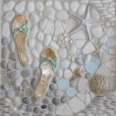 A Walk on the Beach Mosaic Murals  bathroom tile, love this
