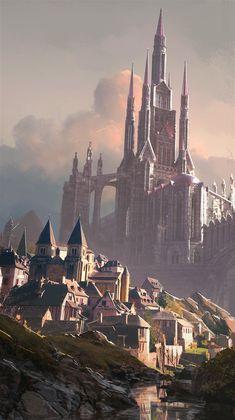 Photobash Sketch, Lincoln Hughes on ArtStation at . Fantasy City, Fantasy Castle, Fantasy Places, Medieval Fantasy, Fantasy World, Fantasy Art Landscapes, Fantasy Landscape, Fantasy Concept Art, Fantasy Artwork