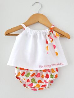 Baby Girl White Llnen Top and Bloomer SetHand by ChasingMini