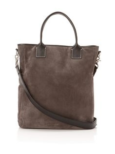 Suede Tote with Contrast Stitching