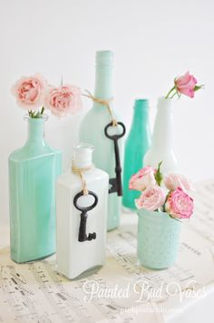DIY vases :) like the different shades of blue. And use poppy flowers for the mantle?