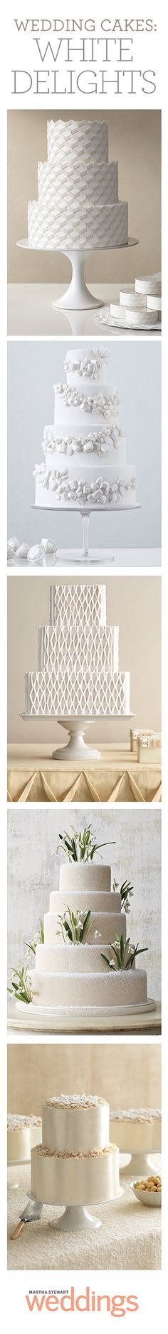 Crisp and classic white wedding cakes from our latest issue!