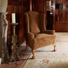 Traditionally upholstered Queen Anne Wing Chair, with carved ball and claw feet, by Stuart Interiors Wing Chair, Queen Anne, Wingback Chair, Solid Oak, All Design, Accent Chairs, Carving, Oak Chairs, Interiors