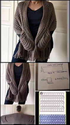 Crochet Shrug Pattern, Crotchet Patterns, Crochet Jacket, Crochet Poncho, Crochet Stitches, Knit Crochet, Crochet Pillow, Loom Knitting, Crochet Clothes