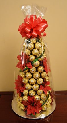 Ferrero Rocher Tree, Candy Trees, Sweet Carts, Sweet Trees, Christmas Eve Box, Rustic Theme, Love And Light, Strawberry, Gift Wrapping