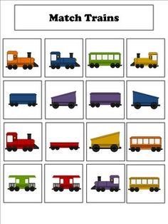 File folder activities to match, sort, count, and more! Train Theme Classroom, Classroom Themes, Classroom Activities, Alphabet Activities, Trains Preschool, Preschool Games, Train Crafts Preschool, Preschool Printables, File Folder Activities