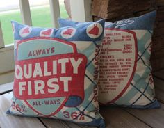 Vintage Feedsack Pillow  - Always Quality First - Grain Sack Pillow - Red White Blue - Chicken Concentrate