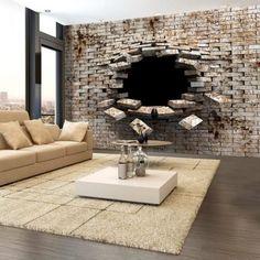 Sehr coole 3D Tapete im Mauer Design. #3D #Tapeten #Mauer #LivingDesigns #Wohnzimmerideen