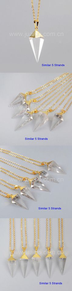 Rock Crystal Colorless 12317: 5Pcs Octahedron Pyramid Point Natural White Quartz Necklace Gold Plated Bg1006-N BUY IT NOW ONLY: $31.0
