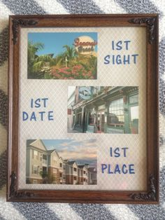 Aug 2014 - Made this as a housewarming gift for the bf.where we met, where we had our first date and our first place together :) Apartment Needs, 1st Apartment, Apartment Plans, First Apartment Essentials, Apartment Decorating For Couples, First Home Gifts, Moving In Together, Realtor Gifts, Diy Presents