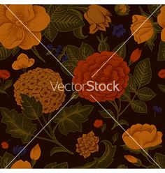 Floral and decorative background vector. Vintage peony pattern - by OlgaKorneeva on VectorStock®