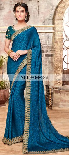 Blue Jacquard Silk Saree with Lace