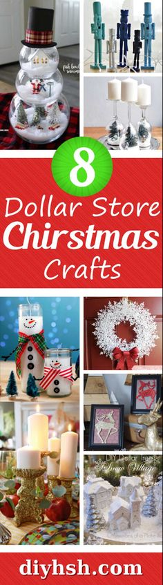 DIY Home Sweet Home: 8 Dollar Store Christmas Crafts These Dollar Store Christmas Crafts are so simple and inexpensive. Christmas Dyi Crafts, Christmas Gifts For Grandma, Inexpensive Christmas Gifts, Dollar Store Christmas, Christmas Projects, Christmas Decorations, Christmas Christmas, Holiday Wreaths, Christmas Ideas