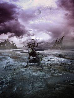 Among the stars by Neriak Cthulhu, Wide Awake, Kraken, Horror Art, Detailed Image, Photo Manipulation, Macabre, Creepy, Digital Art