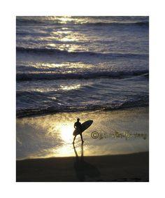Huntington Beach Surfer at Sunset - Surf City USA, California Surf Photo - Original Photography Art Print by PhotoandFantasy on ETSY