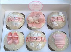Baby Shower Cupcakes Fondant Toppers, Fondant Cupcakes, Cute Cupcakes, Baking Cupcakes, Baby Shower Cupcakes For Girls, Baby Cupcake, Cupcake Art, Torta Baby Shower, Baby Cookies