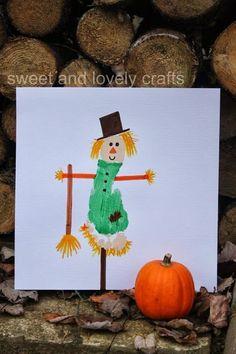 2014 Halloween foot print scarecrow craft card - pumpkin  #2014 #Halloween
