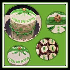 Pea in a pod cake and cupcakes.