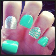 "16 Likes, 1 Comments - Jessica Sims (@jsimslpn) on Instagram: ""#nails #manicure #mintgreen #silver #glitter #zebra @mintgreenlovers"""