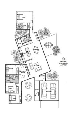 Floor Plan Friday: Private & Practical Using Pods A lovely reader sent me this f. - Floor Plan Friday: Private & Practical Using Pods A lovely reader sent me this floor plan last week - Beautiful House Plans, Dream House Plans, House Floor Plans, Beautiful Homes, Beautiful Beautiful, Cool House Plans, Unique House Plans, Narrow House Plans, Unique Floor Plans