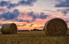 Sunset with Hay Bales Sunset Landscape by AndyDaveyPhotography, £9.99