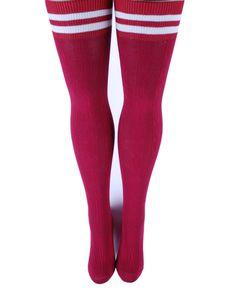 Bordo Saç Örgü Diz Üstü Çizgi Detaylı Çorap