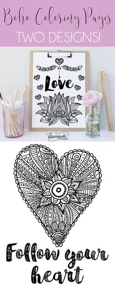 Two FREE Boho Coloring Pages + an awesome can't miss font bundle for my fellow not hoarders! dawnnicoledesigns.com