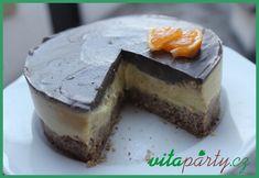 Raw pomerančový dort s karobovou polevou Cheesecake, Pudding, Desserts, Food, Tailgate Desserts, Deserts, Cheesecakes, Custard Pudding, Essen