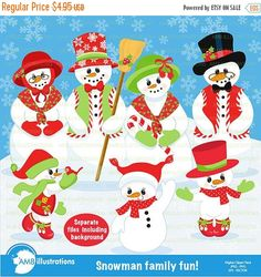 80%OFF Snowman clipart Christmas clipart by AMBillustrations