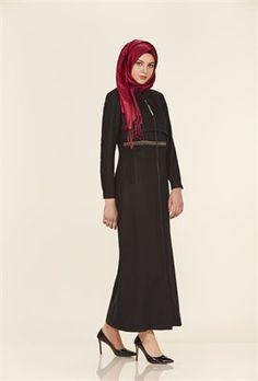 Nakış Detaylı Hakim Yaka Siyah Pardesü High Neck Dress, Dresses, Fashion, Turtleneck Dress, Vestidos, Moda, La Mode, Fasion, Dress