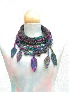 Art Boho infinity scarf  hand knit loop  wooden beads by woollinen