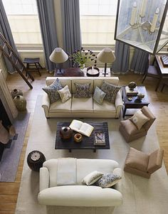 Living Room, New Traditional, Blue and Tan