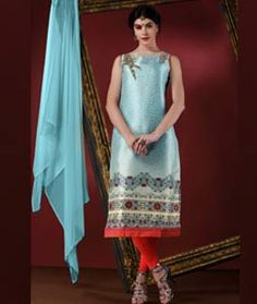 Buy Sky Blue Art Silk Readymade Churidar Suit 72755 online at lowest price from huge collection of salwar kameez at Indianclothstore.com.