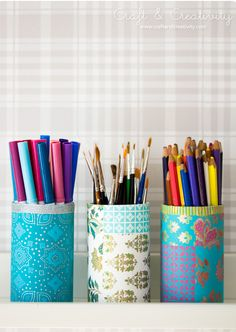 DIY Decorated Pencil Holders.
