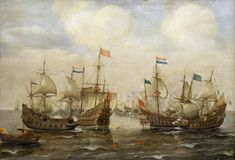 """An Engagement Between the Spanish and the Dutch, circa 1630"" by Cornelisz Verbeecq (1630s) at the National Maritime Museum, London"