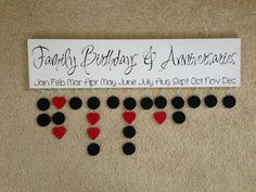 Family birthday and anniversary board