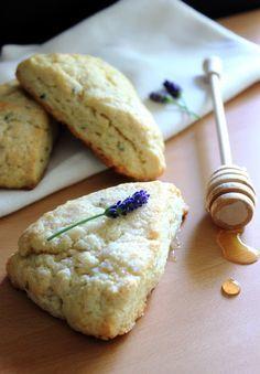 Lavender Lemon Scones (2 c AP flour, 1 T baking powder, 4 T granulated sugar, plus more for sprinkling, 1/2 t salt, 5 T cold unsalted butter, cut into cubes, 1 t dried lavender, zest of 1 lemon: about 1 T, 1 c heavy cream + 2 T for brushing