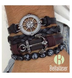 Kit 4 pulseiras masculinas couro âncora rosa dos ventos pedra obsidiana alles für Ihren Erfolg - www. Bracelets For Men, Fashion Bracelets, Fashion Jewelry, Beaded Bracelets, Leather Bracelets, Anchor Bracelets, Pandora Bracelets, Men's Jewelry, Fashion Mode
