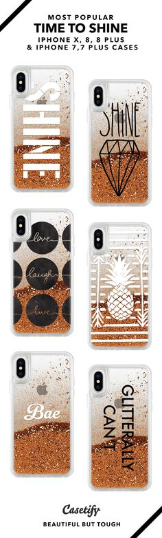 Time To Shine iPhone X, iPhone 8, iPhone 8 Plus, iPhone 7 and iPhone 7 Plus case. - Shop them here ☝️☝️☝️ BEAUTIFUL BUT TOUGH ✨ - glitter case, waterfall iPhone case, shine, gold phone case, golden, pineapple