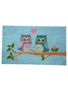 Love Owls Blue Coir Door Mat @ rosefields.co.uk