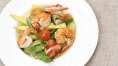 Tagliatelle met scampi's en lichte currysaus