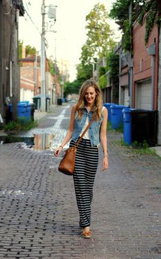 Vested (See Jane Wear) - striped maxi, denim vest, tan crossbody