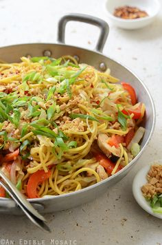 Thai-Inspired Soy Sauce Noodles with Vegetables and Chicken Recipe - comes together quick for a great weeknight dinner!