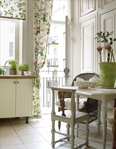 fresh green and white - cool balcony outside kitchen
