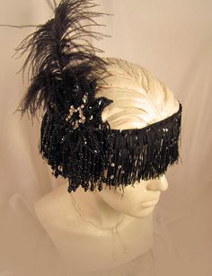 Flapper hat- Black Fringe Headband with Black Beaded Flower with Feather- Flapper- 1920's hat