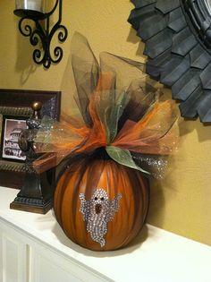 Halloween Pumpkin with Ghost - Halloween Centerpiece - Halloween Front Door Decor - Tulle Wrapped Pumpkin