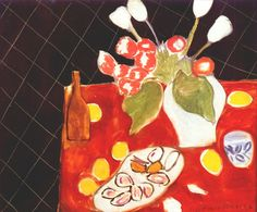 Matisse / Tulips and Oysters on Black Background 1943.