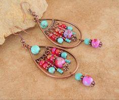 Boho Beaded Earrings Copper Tear Drop Bohemian by BohoStyleMe