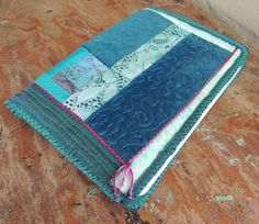 Textile Art Journal, notebook, Quilted Turquoise Textures
